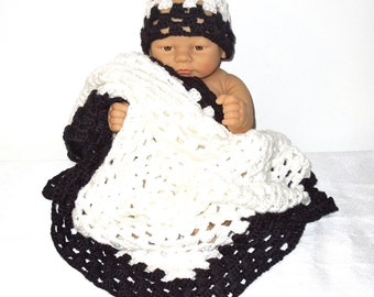 Crochet Baby Blanket, Hat Set, Newborn, Baby Boy, Baby Girl, Black, White, Baby Shower,