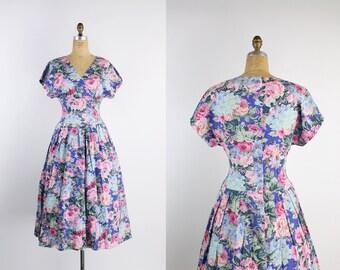 Vintage Floral Dress / Summer Dress / 50s Dress / 80s Dress / 1980s / Vintage Sundress / Day Dress / Size S/M