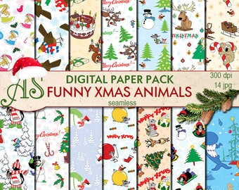 Digital Funny Christmas Animals Seamless Paper Pack, 14 printable Digital Scrapbooking papers, New Yyar collage, Instant Download, set 65