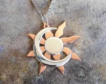 Sun and Moon Pendant, Moon and Sun Necklace, Silver Moon Necklace, Silver Sun Necklace, Celestial Pendant, Esoteric Necklace, Etnic jewelry,