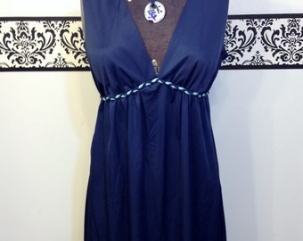 1960'S Grecian Style Pin Up Nightgown Midnight Blue by Avian, Size Small / Medium, Vintage Grecian Empire Waist Teddy, 60's Lingerie