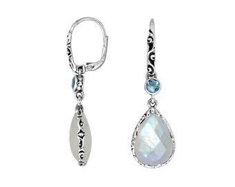 moonstone blue topaz sterling silver earring