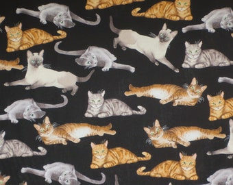 Reclining Cats on Black Print Pure Cotton Fabric--By the Yard