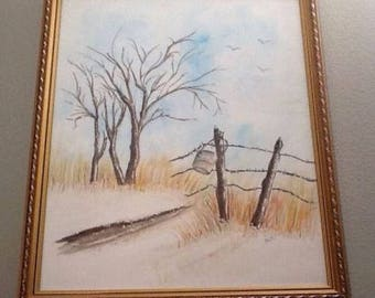 """Signed Framed Watercolor Painting Snow Birch Tree Fence Seagulls Winter Scene Vintage 15x12"""""""
