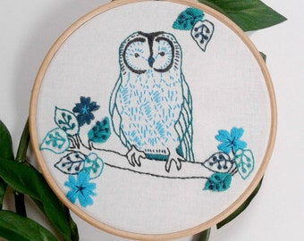 Owl embroidery pattern pdf. Woodland animal. Bird embroidery. DIY wall art. Needlework pattern. Childrens decor. Nursery art. Hoop art