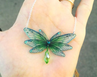 Glass Bead Necklace green fairy wings
