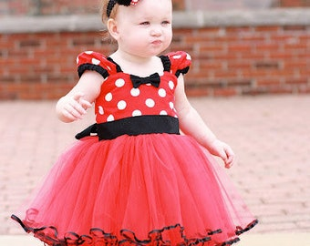 MINNIE MOUSE dress, red and black Minnie Mouse costume, Minnie Mouse TUTU Dress, Red Polka Dot dress, 1st Birthday oufit girl, tulle dress