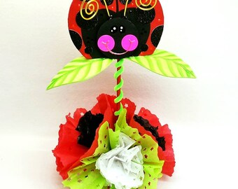 Girls Ladybug birthday, Ladybug Birthday Centerpieces, Ladybug party, Ladybug centerpiece, ladybug birthday decorations, INDIVIDUAL