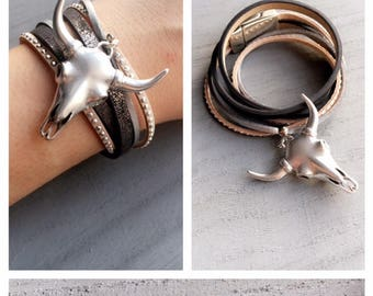 Cuff Bracelet two rounds with Bull - beast head silver metal Horn