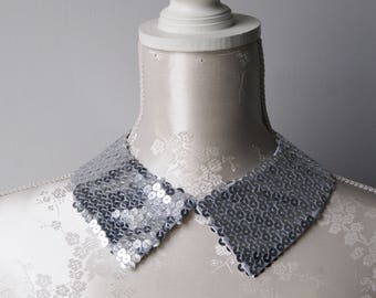 Silver collar necklace with sequins pointed shape detachable accessories for women removeable peter pan collar sequined collar classic
