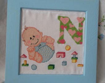 """Wood frame with alphabet """"N"""" embroidered baby"""