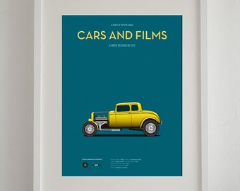American Graffiti car poster, art print A3 Cars And Films, home decor prints, illustration print