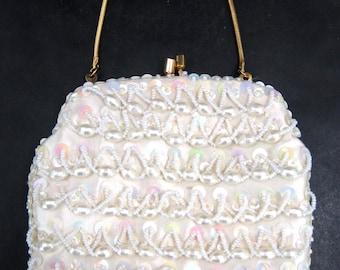 Vintage Evening Purse Beaded Sequin Clutch Wedding Elegant Small White Handbag Made In Hong Kong