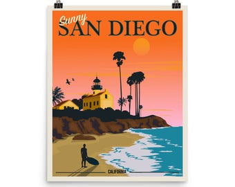 Sunny San Diego California Sunset | Vintage-Style Travel Poster on Photo paper