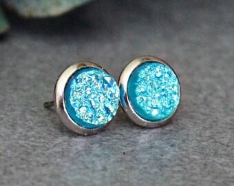Turquoise Stud Earrings, Turquoise Druzy Earring Studs, Turquoise Earrings, Turquoise Post Earring, Teal Stud Earrings, Green Earrings