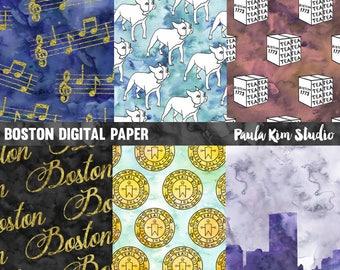 Watercolor Digital Paper, Boston Digital Paper Pack, Commercial Use
