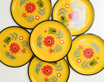 Vintage Large Yellow Flower Serving Tray or Platter