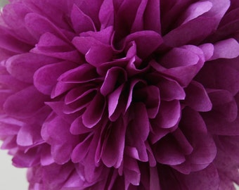 Plum .. Tissue Party Pom / Wedding Decor / Bridal Shower / Ceremony / Baby Shower / DIY Decoration