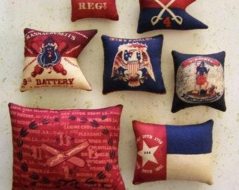 7 Primitive Fourth of July Flag Ornies Tucks Shelf Sitter Americana Patriotic Folk Art Folkart 4th of July Grungy