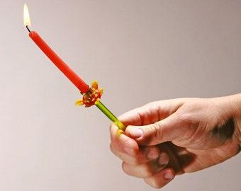 Hanukkah Candle Holder, Shabbat Candle Holder, Shabbat candlesticks, Judaica menorah combined Lampwork Glass MADE IN ISRAEL