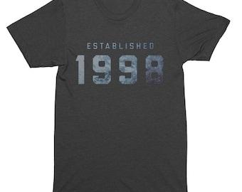 Established 1998 Birthday T-Shirt, Tank Top, Baseball Tee, Sweatshirt, Hoodie