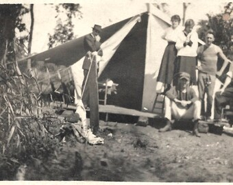 """Vintage Snapshot """"Visiting the Campsite"""" Dressed Up Visitors Men Roughing It Canvas Tent Camping Found Vernacular Photo"""