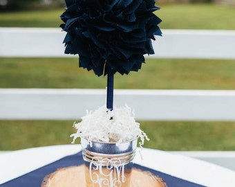 NAVY BLUE CENTERPIECE - Wedding Centerpiece - Unique Baby Shower Centerpiece - Graduation Party Centerpiece - Bridal shower centerpiece