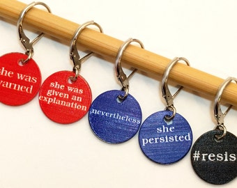 Charity Donation: SHE WAS WARNED - Set of 5 Stitchmarkers for Knitters and Crocheters