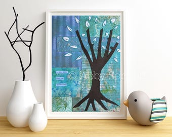 Woodland Nursery Art, Cute, Fairy Tale, Nursery Decor, Art Print, Woodland, Tree Art, Collage, Nature Inspired, Room Decor, 5 x 7