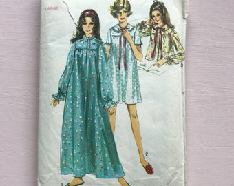 Simplicity 8457 Vintage Retro 1960's Lace Trimmed Nightdress & Peter Pan Collar Bed Jacket, Nightgown, Nightie, Sewing Pattern Bust 38-40""
