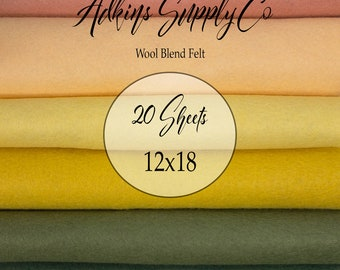 20 Felt Sheets - Wool Felt Sheets - 12x18 Felt Sheets - Wool Blend Felt - Choose Your Colors - Wool Fabric