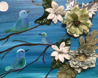 11x14 Birds and Embellished Flowers by Moonlight