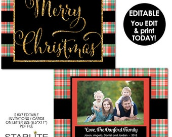 Photo Christmas Card Templates, Photo Christmas Card EDITABLE INSTANT DOWNLOAD, Pdf Printable Template, Plaid Gold Glitter, Instant Download