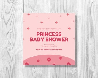 Pink Flowers and Stars Princess Baby Shower Invitation - Printable