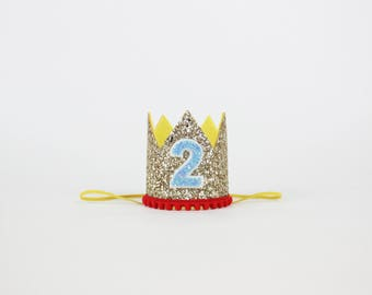 Circus Birthday Crown | 2nd Birthday Girl Outfit Clown Birthday | Carnival 2nd Birthday Outfit | 2nd Birthday Hat | Gold Yellow Red Blue