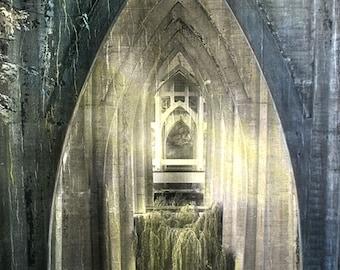 "20""x30"" Original Hand-Painted Photograph ""Under the St. Johns Bridge"""