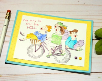 Funny Birthday Cards - Girlfriend Birthday - Cheeky Bday Card - Sarcastic Cards - Over The Hill - Woman Birthday Cards - Happy Birthday Her