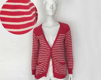 The Candyland Pink Stripes Vintage 90s Cotton Sweater Cardigan Women's Jumper Striped Sweater LS Cardigan