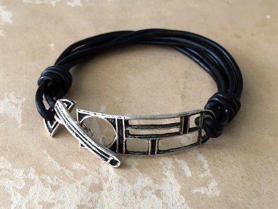 Silver and Leather Bracelet, Black Leather Bracelet, Toggle Bracelet