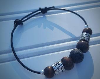 Leather, Natural Diffuser Bracelet - Fully Adjustable