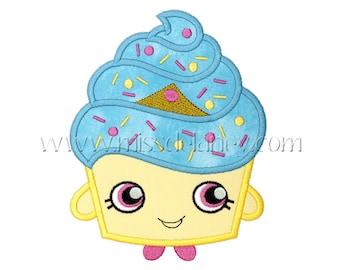 Kawaii Cupcake Applique Design