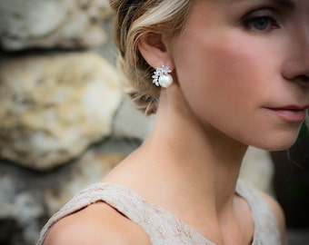 Vintage Style Pearl Flower Wedding Earrings, Pearl Bridal Earrings, 1950s Wedding Stud Earrings, Gatsby, Rose Gold, Gold, Silver - 'ADENA''