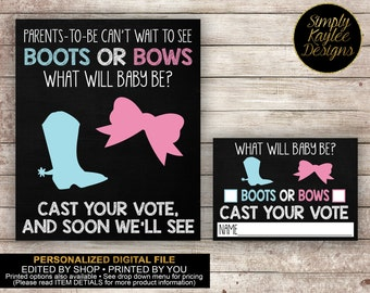 PERSONALIZED Boots and Bows Gender Reveal Voting Game