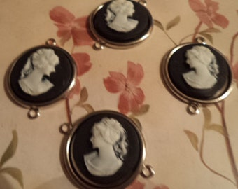 18mm round lady cameo profile 2 left and 2 right white on black  4 pcs