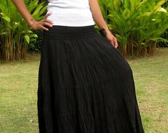Long Maxi Skirt * Elastic Smocked Waist * Long Skirts For Women * Hippie Skirt * Bohemian Skirt * Boho Skirt * Tiered Skirt * SL-black