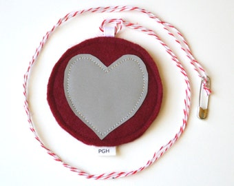 Red Heart Safety Reflector, Felt and Reflective Fabric; RF001