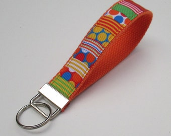Orange Lanyard Keychain for Women, Cool Lanyards for Women, Orange Keychain Lanyard, Cute Wristlet Lanyard, Cute Key Fobs
