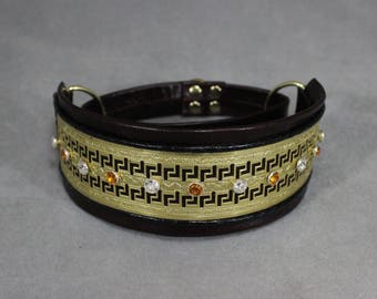 Blackberry, Gold, and Topaz Leather Martingale Dog Collar