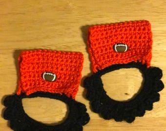 Black/Orange Football Towel Holders