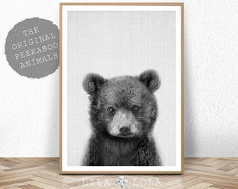 Baby Bear Print Woodland Animal Nursery Decor Printable Digital Download Forest Animals Black And White Large Poster Cub